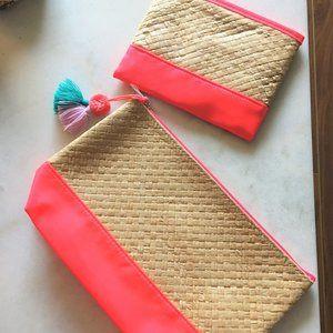 3/$36 - New! Sephora coral makeup cosmetic bag set